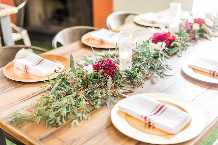 Guest tablescape from a Modern Rustic Baby Shower on Kara's Party Ideas | KarasPartyIdeas.com (37)