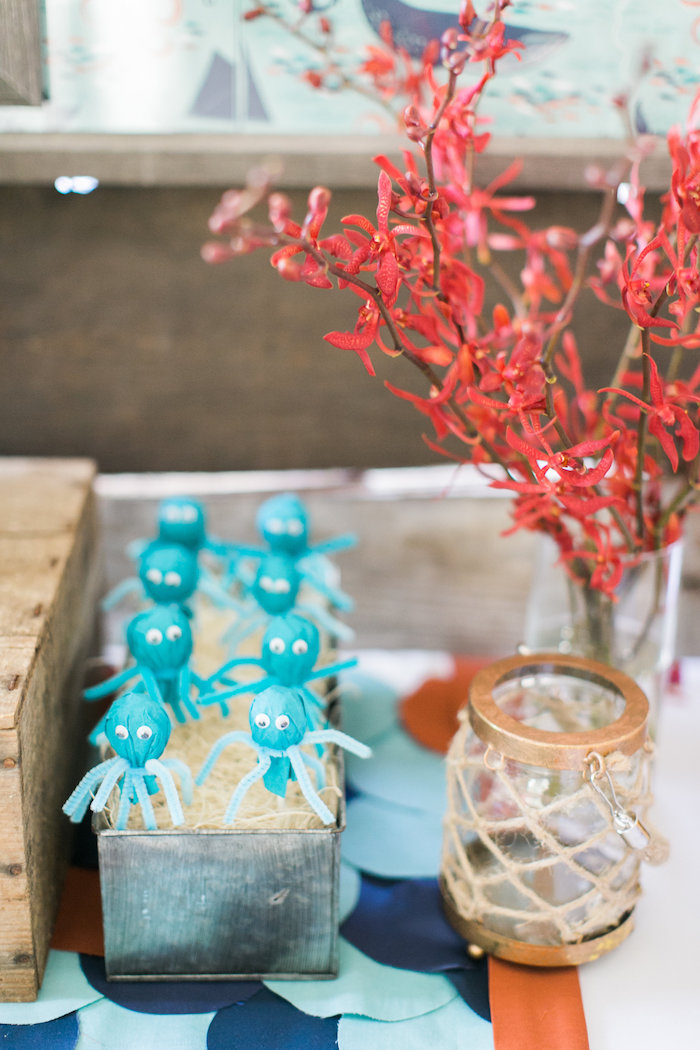 Octopus cake pops & decor from a Modern Under the Sea Birthday Party on Kara's Party Ideas | KarasPartyIdeas.com (42)