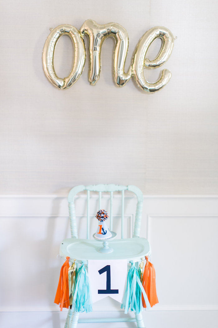 High chair from a Modern Under the Sea Birthday Party on Kara's Party Ideas | KarasPartyIdeas.com (40)