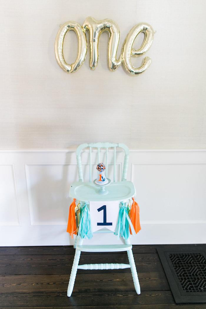 High chair from a Modern Under the Sea Birthday Party on Kara's Party Ideas | KarasPartyIdeas.com (38)