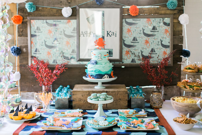 Dessert table from a Modern Under the Sea Birthday Party on Kara's Party Ideas | KarasPartyIdeas.com (32)