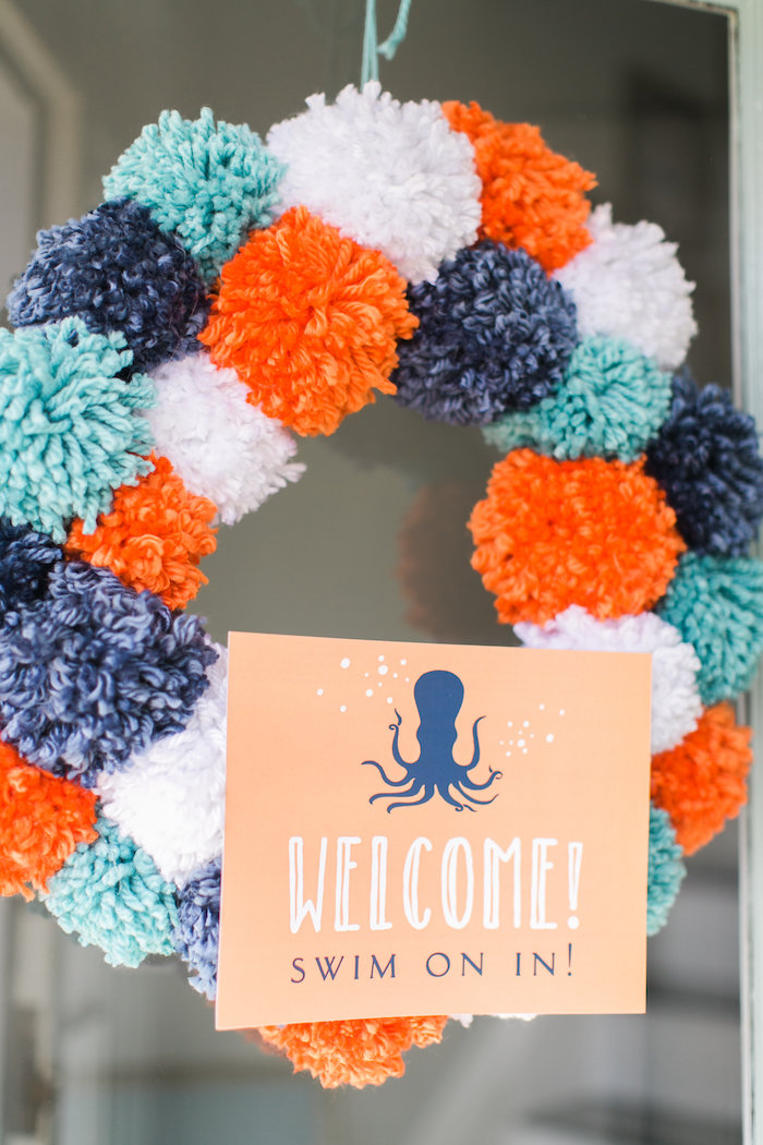 Pom pom wreath from a Modern Under the Sea Birthday Party on Kara's Party Ideas | KarasPartyIdeas.com (22)