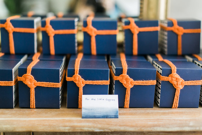 Nautical cupcake box favors from a Modern Under the Sea Birthday Party on Kara's Party Ideas | KarasPartyIdeas.com (19)