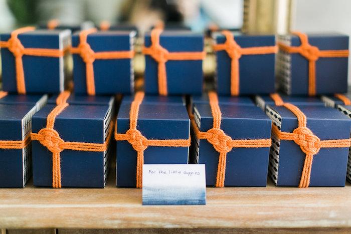 Nautical cupcake box favors from a Modern Under the Sea Birthday Party on Kara's Party Ideas | KarasPartyIdeas.com (19)