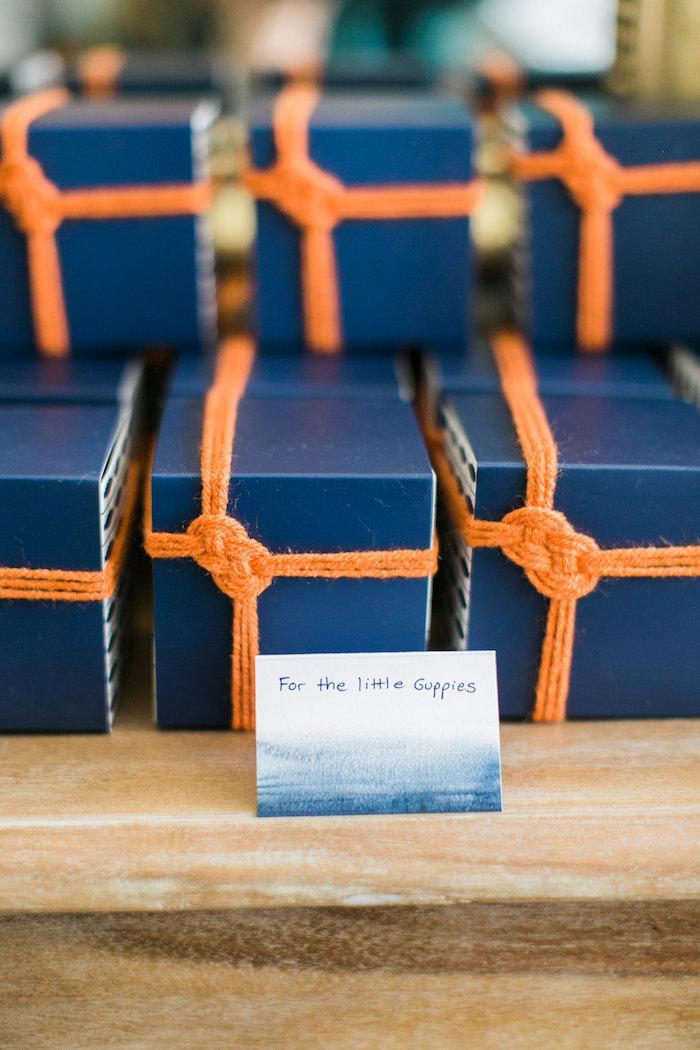 Nautical cupcake box favors from a Modern Under the Sea Birthday Party on Kara's Party Ideas | KarasPartyIdeas.com (18)