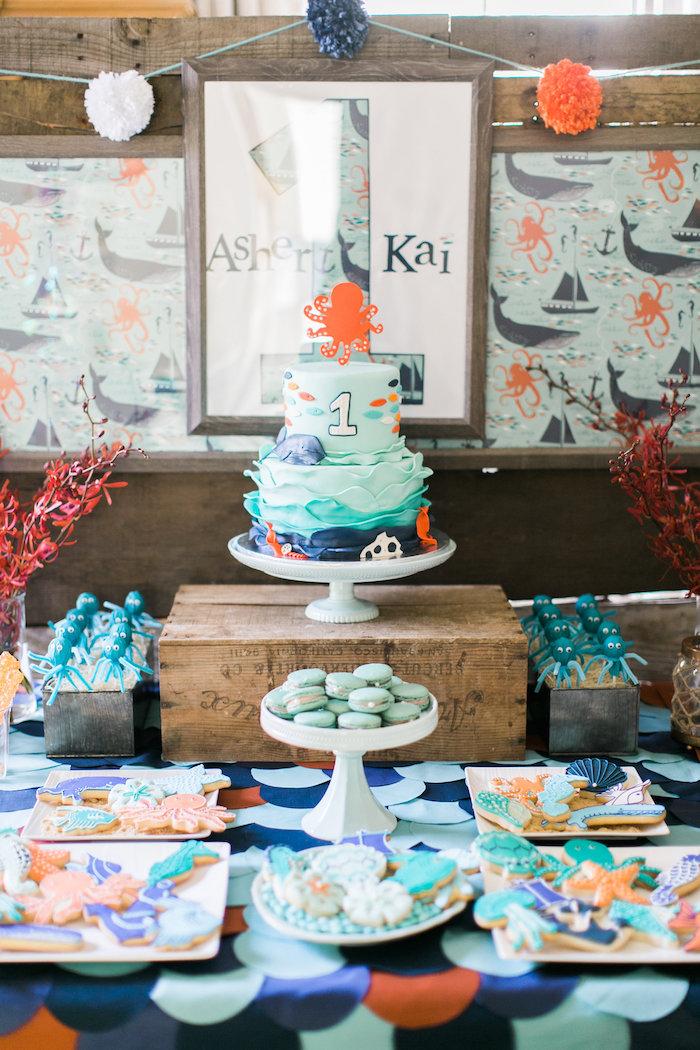 Cakescape from a Modern Under the Sea Birthday Party on Kara's Party Ideas | KarasPartyIdeas.com (51)
