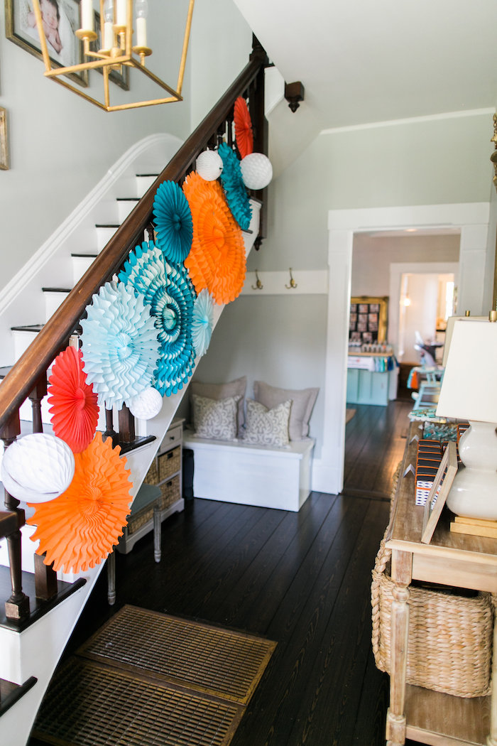 Staircase bunting from a Modern Under the Sea Birthday Party on Kara's Party Ideas | KarasPartyIdeas.com (14)