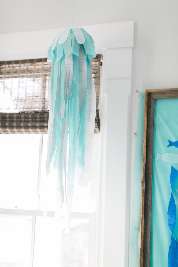 Jellyfish decoration from a Modern Under the Sea Birthday Party on Kara's Party Ideas | KarasPartyIdeas.com (12)