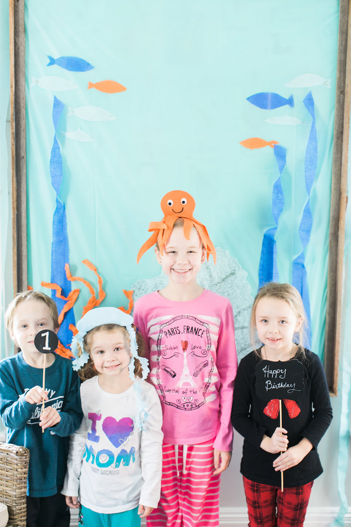 Under the Sea photo booth from a Modern Under the Sea Birthday Party on Kara's Party Ideas | KarasPartyIdeas.com (7)