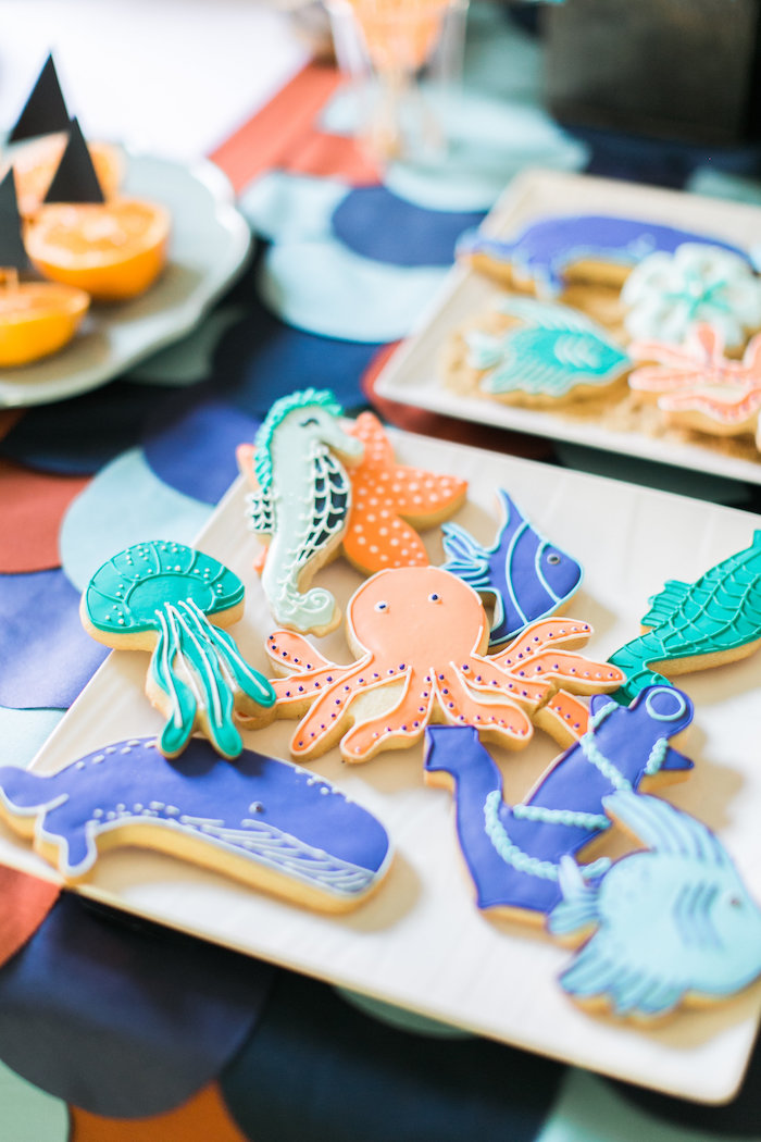 Sugar cookies from a Modern Under the Sea Birthday Party on Kara's Party Ideas | KarasPartyIdeas.com (49)