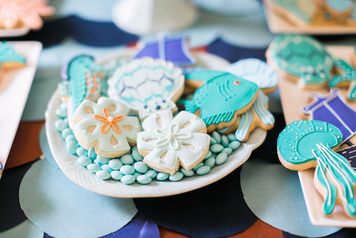 Under the Sea sugar cookies from a Modern Under the Sea Birthday Party on Kara's Party Ideas | KarasPartyIdeas.com (48)