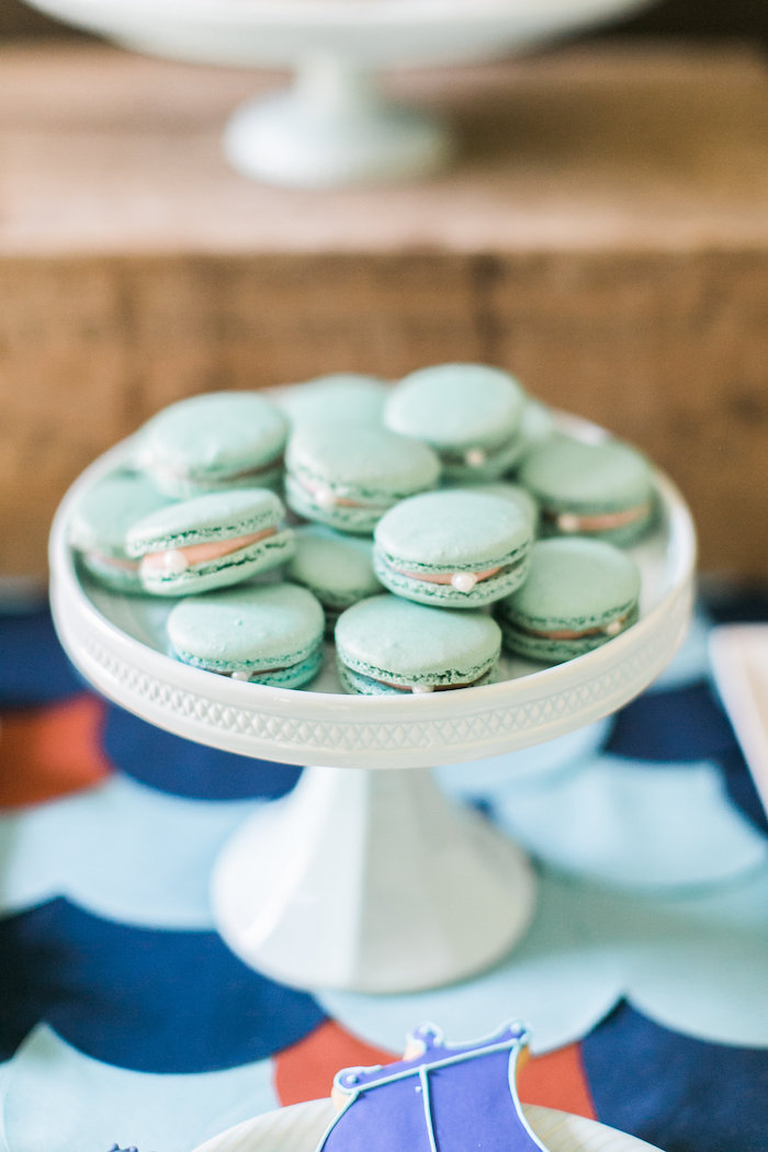 Pearl macarons from a Modern Under the Sea Birthday Party on Kara's Party Ideas | KarasPartyIdeas.com (47)