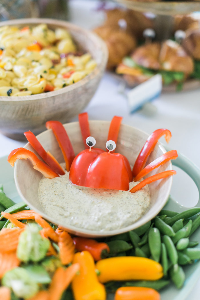 Octopus dip from a Modern Under the Sea Birthday Party on Kara's Party Ideas | KarasPartyIdeas.com (46)