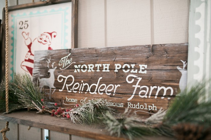 Reindeer Farm party signage from a Mom & Me Christmas Craft Party on Kara's Party Ideas | KarasPartyIdeas.com (48)