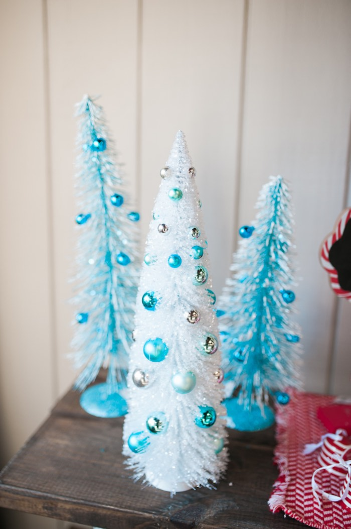 Blue Christmas tree decorations from a Mom & Me Christmas Craft Party on Kara's Party Ideas | KarasPartyIdeas.com (45)
