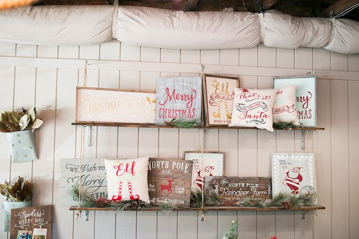 Wooden Christmas signs from a Mom & Me Christmas Craft Party on Kara's Party Ideas | KarasPartyIdeas.com (55)