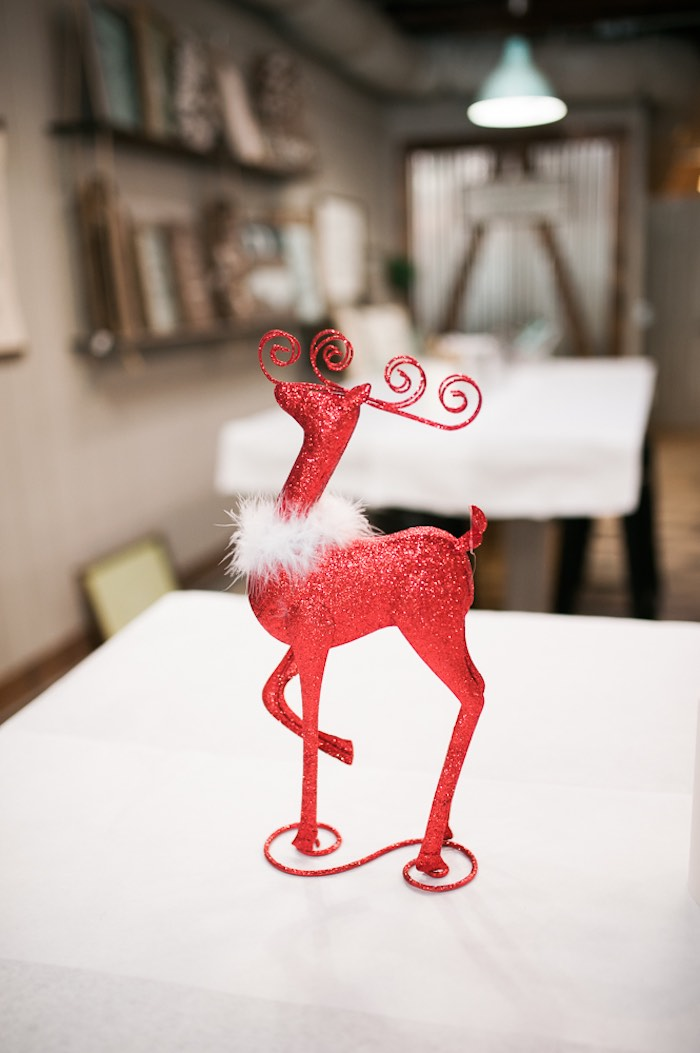 Reindeer centerpiece from a Mom & Me Christmas Craft Party on Kara's Party Ideas | KarasPartyIdeas.com (52)