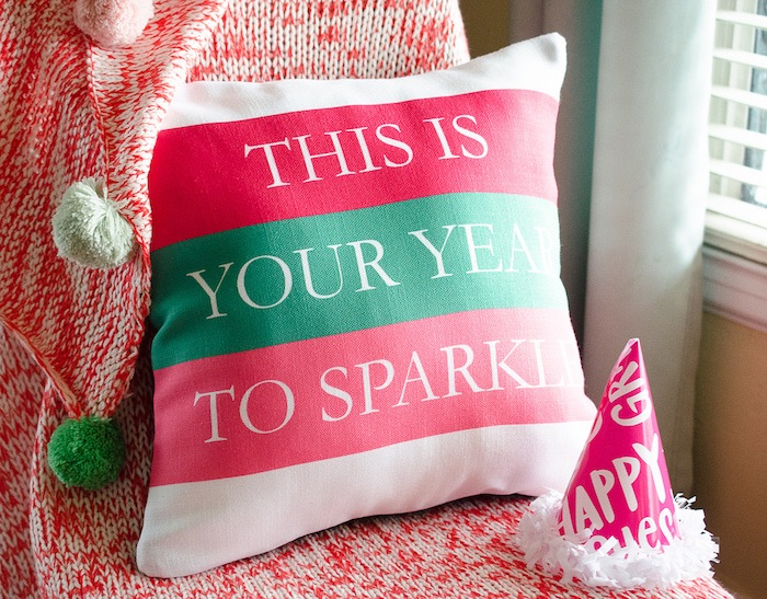 Decorative New Year Pillow from a Noon Year's Eve Party for Littles on Kara's Party Ideas | KarasPartyIdeas (7)