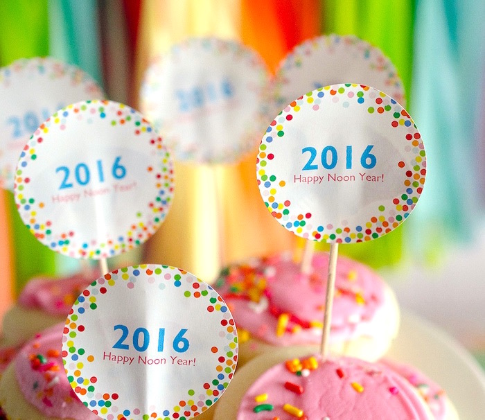 New Year's confetti cookies from a Noon Year's Eve Party for Littles on Kara's Party Ideas | KarasPartyIdeas (16)