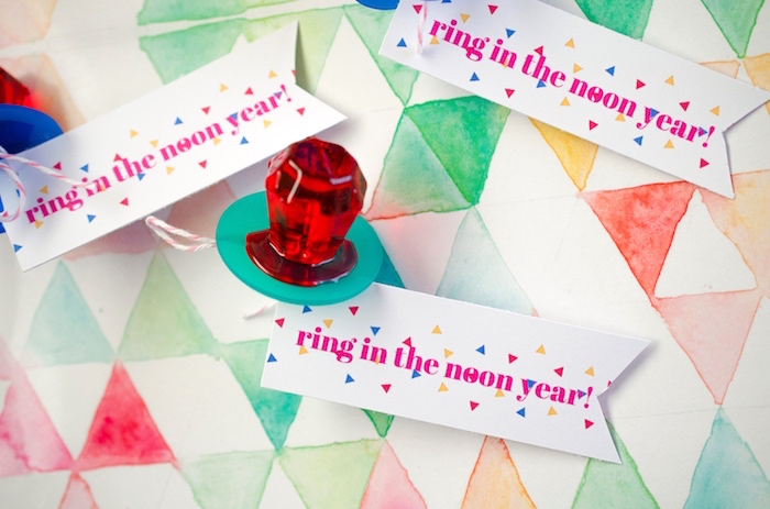"""Ring in the Noon Year"" Ring Pop party favor from a Noon Year's Eve Party for Littles on Kara's Party Ideas 