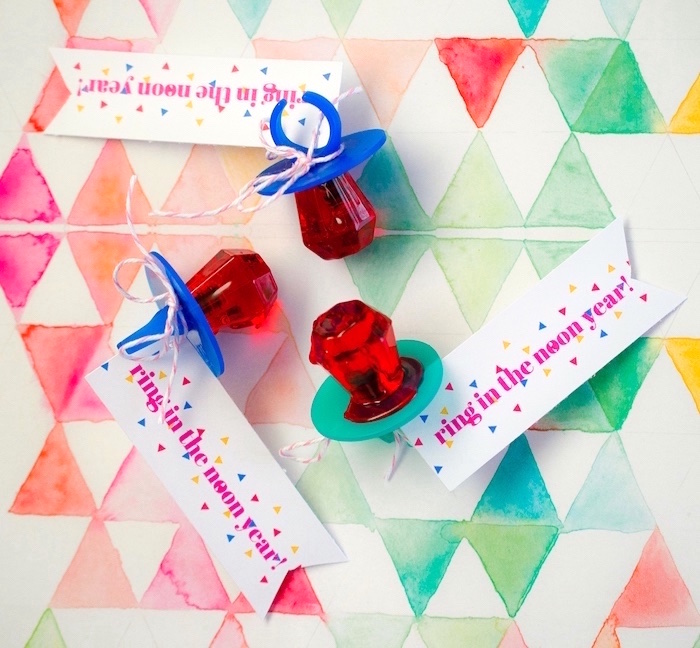 """Ring in the New Year"" Ring Pop favors from a Noon Year's Eve Party for Littles on Kara's Party Ideas 