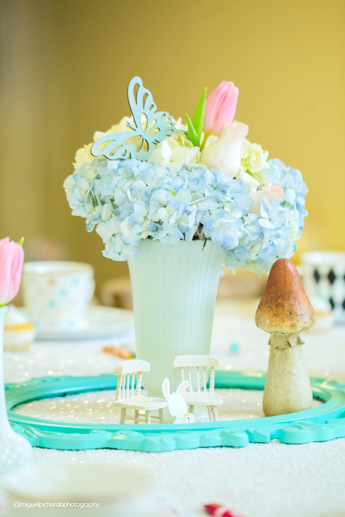 Floral centerpiece from a Pastel Glam Alice in Wonderland Birthday Party on Kara's Party Ideas | KarasPartyIdeas.com (49)