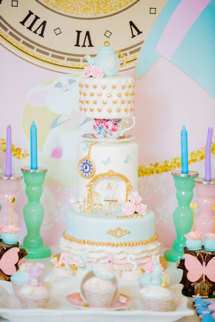 Alice in Wonderland Cake from a Pastel Glam Alice in Wonderland Birthday Party on Kara's Party Ideas | KarasPartyIdeas.com (45)