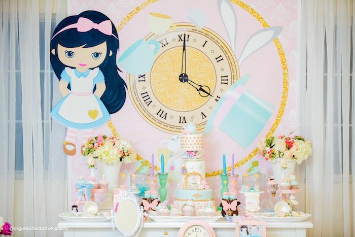 Alice in Wonderland dessert spread from a Pastel Glam Alice in Wonderland Birthday Party on Kara's Party Ideas | KarasPartyIdeas.com (43)