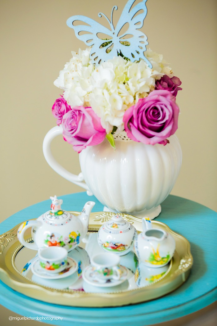 Tea set & florals from a Pastel Glam Alice in Wonderland Birthday Party on Kara's Party Ideas | KarasPartyIdeas.com (42)