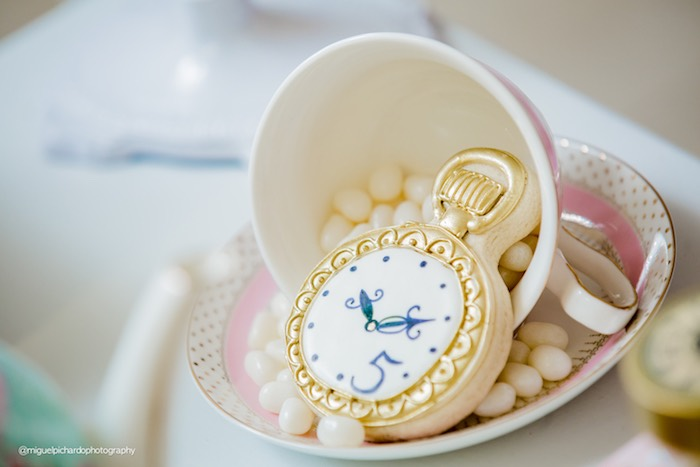 Clock cookie from a Pastel Glam Alice in Wonderland Birthday Party on Kara's Party Ideas | KarasPartyIdeas.com (37)