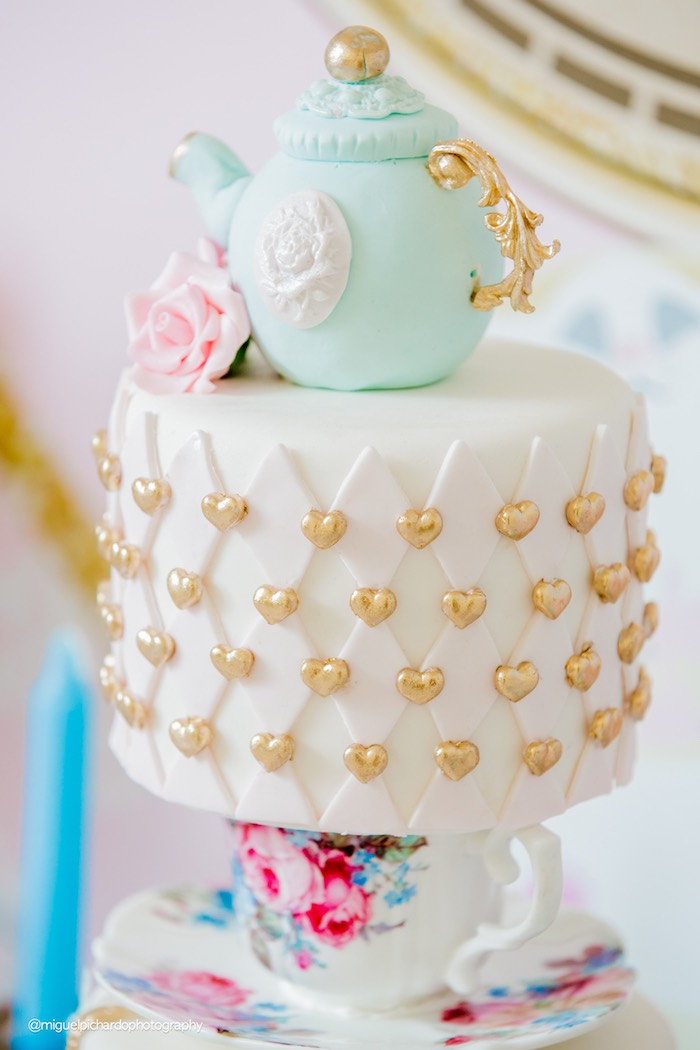 Tea Kettle Cake from a Pastel Glam Alice in Wonderland Birthday Party on Kara's Party Ideas | KarasPartyIdeas.com (30)