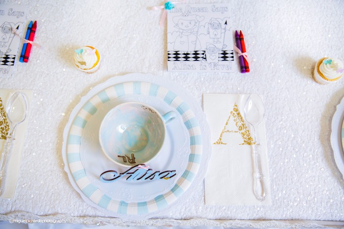 Place setting from a Pastel Glam Alice in Wonderland Birthday Party on Kara's Party Ideas | KarasPartyIdeas.com (56)