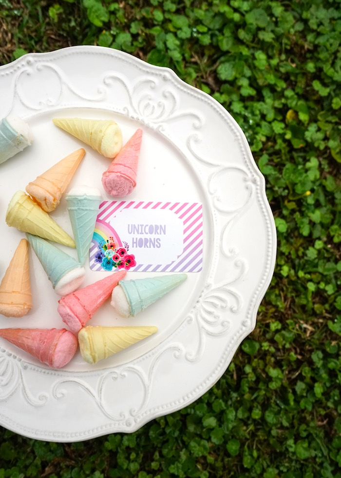 Unicorn horn sweets from a Pastel Unicorn Birthday Party on Kara's Party Ideas | KarasPartyIdeas.com (9)
