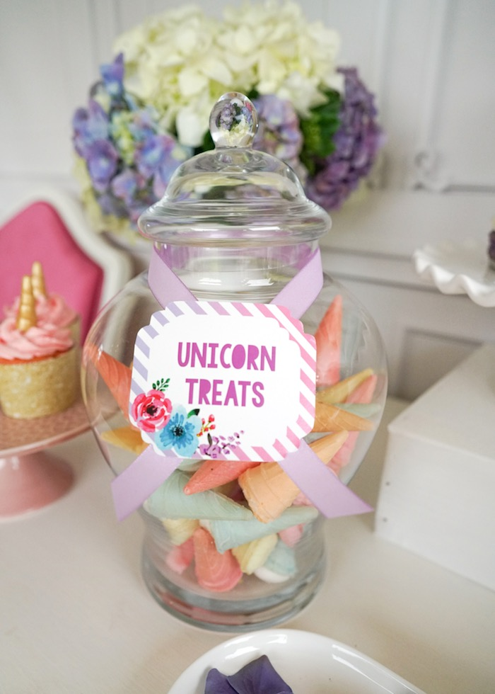 Unicorn treat label from a Pastel Unicorn Birthday Party on Kara's Party Ideas | KarasPartyIdeas.com (8)