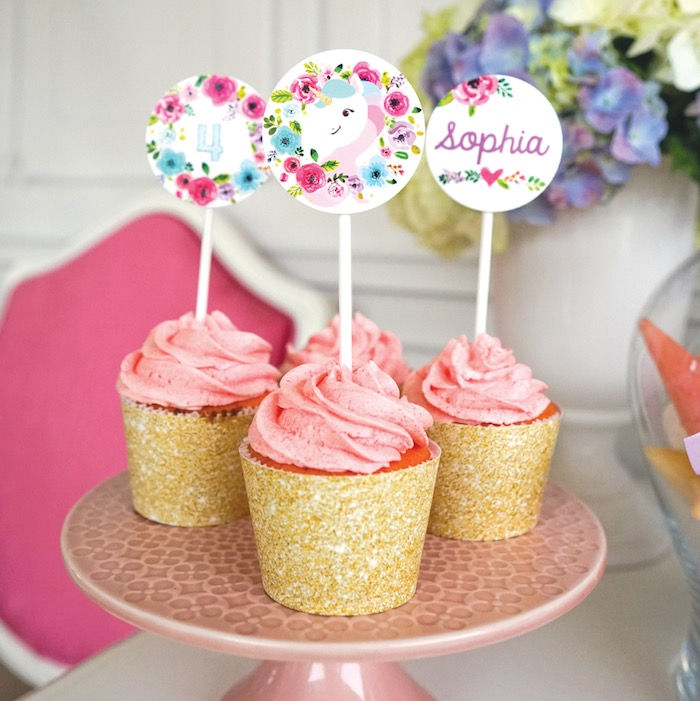 Unicorn cupcake toppers from a Pastel Unicorn Birthday Party on Kara's Party Ideas | KarasPartyIdeas.com (23)