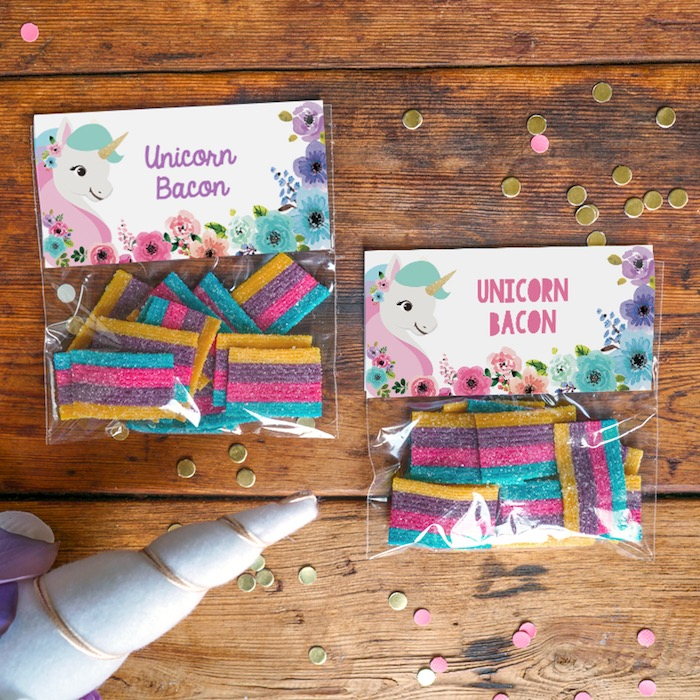 Unicorn favor bags from a Pastel Unicorn Birthday Party on Kara's Party Ideas | KarasPartyIdeas.com (3)