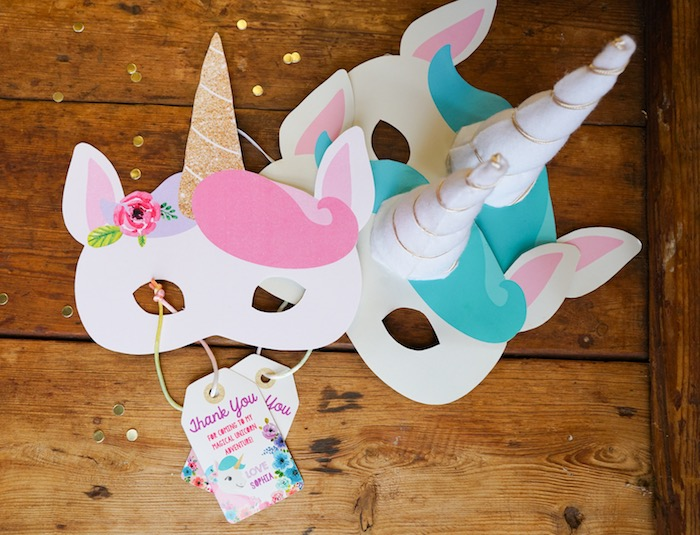 Unicorn masks from a Pastel Unicorn Birthday Party on Kara's Party Ideas | KarasPartyIdeas.com (19)