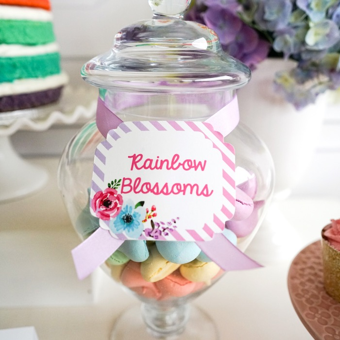 Rainbow blossom cookies from a Pastel Unicorn Birthday Party on Kara's Party Ideas | KarasPartyIdeas.com (17)