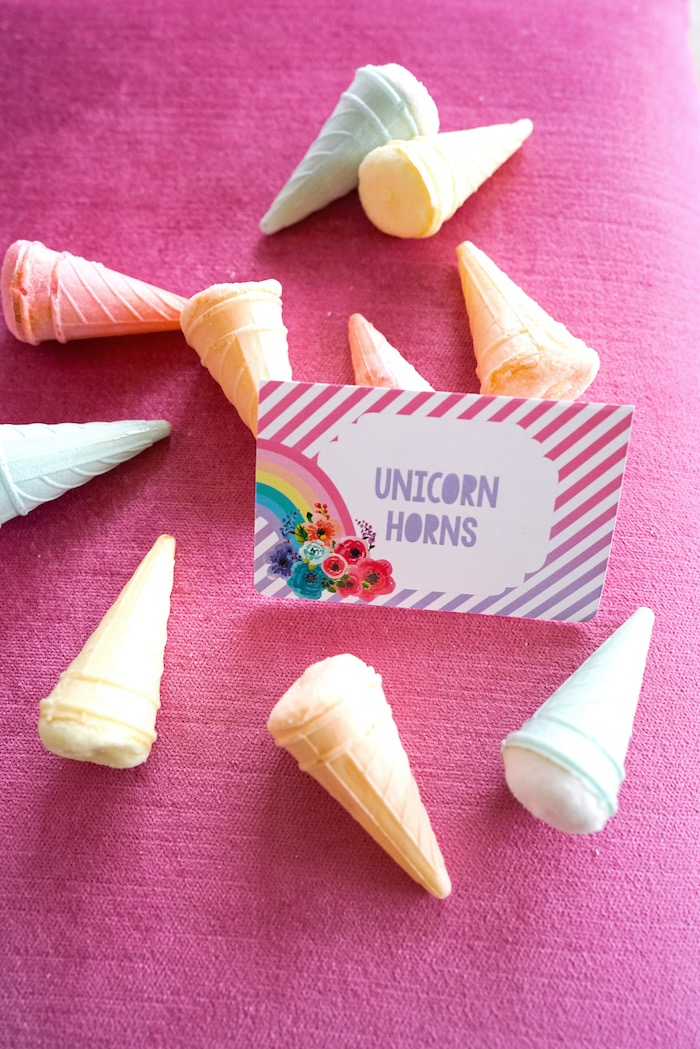 Floral rainbow sweet label from a Pastel Unicorn Birthday Party on Kara's Party Ideas   KarasPartyIdeas.com (16)