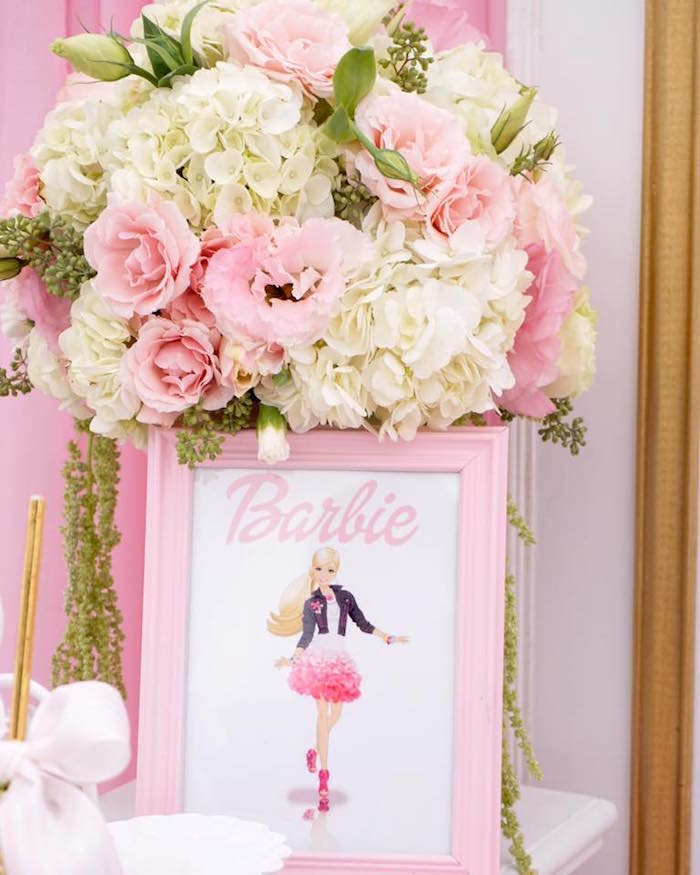 Barbie floral arrangement from a Pink Glam Barbie Birthday Party on Kara's Party Ideas | KarasPartyIdeas.com (8)
