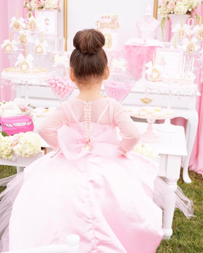 Adorable dress back from a Pink Glam Barbie Birthday Party on Kara's Party Ideas | KarasPartyIdeas.com (7)