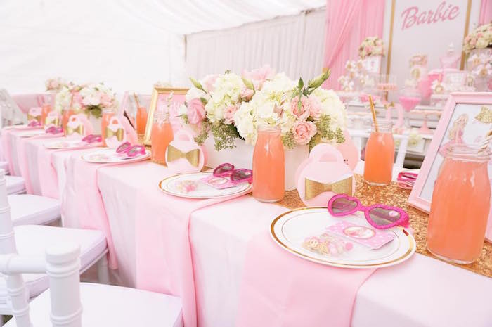 Guest tablescape from a Pink Glam Barbie Birthday Party on Kara's Party Ideas | KarasPartyIdeas.com (5)