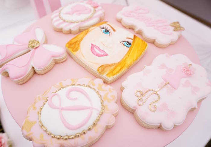 Barbie sugar cookies from a Pink Glam Barbie Birthday Party on Kara's Party Ideas | KarasPartyIdeas.com (21)