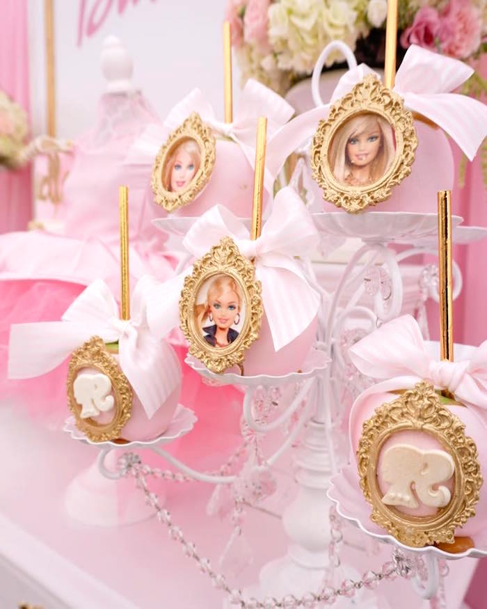 Barbie portrait apples from a Pink Glam Barbie Birthday Party on Kara's Party Ideas | KarasPartyIdeas.com (20)