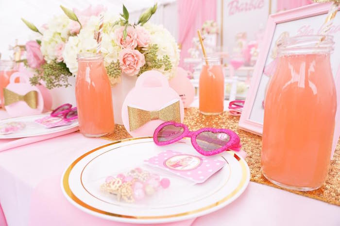 Barbie place setting from a Pink Glam Barbie Birthday Party on Kara's Party Ideas | KarasPartyIdeas.com (18)