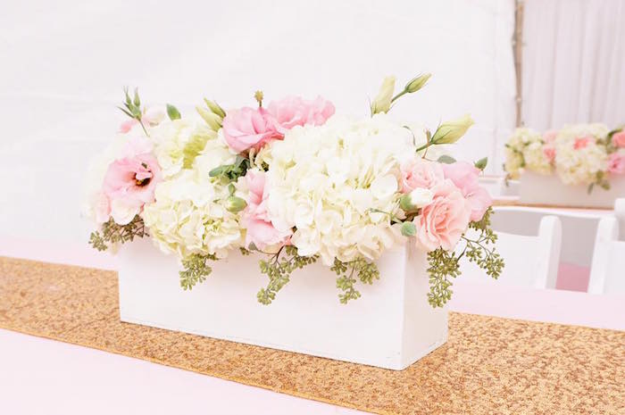 Pink & white floral box arrangement from a Pink Glam Barbie Birthday Party on Kara's Party Ideas | KarasPartyIdeas.com (17)