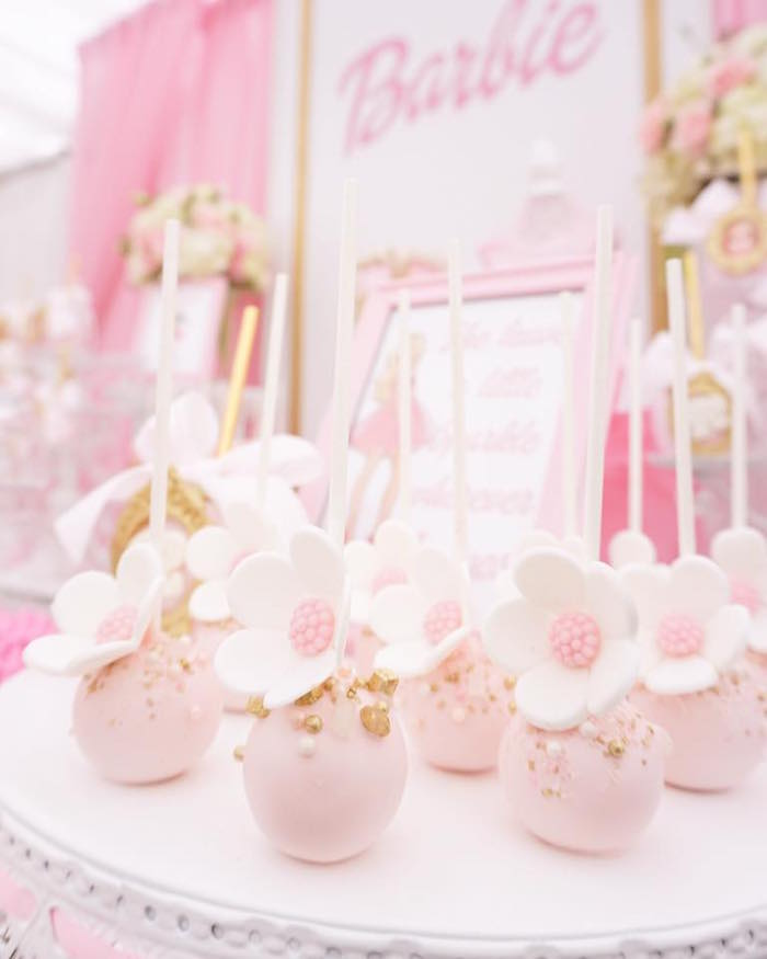 Flower cake pops from a Pink Glam Barbie Birthday Party on Kara's Party Ideas | KarasPartyIdeas.com (16)