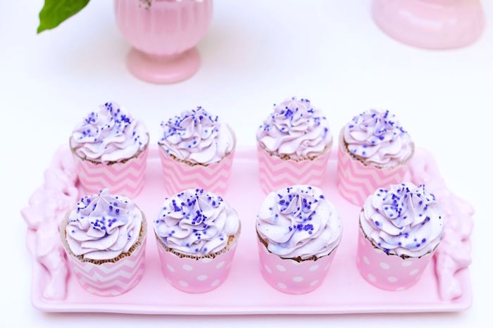 Purple sprinkled cupcakes from a Pretty Pastel Rainbow Party on Kara's Party Ideas | KarasPartyIdeas.com (25)