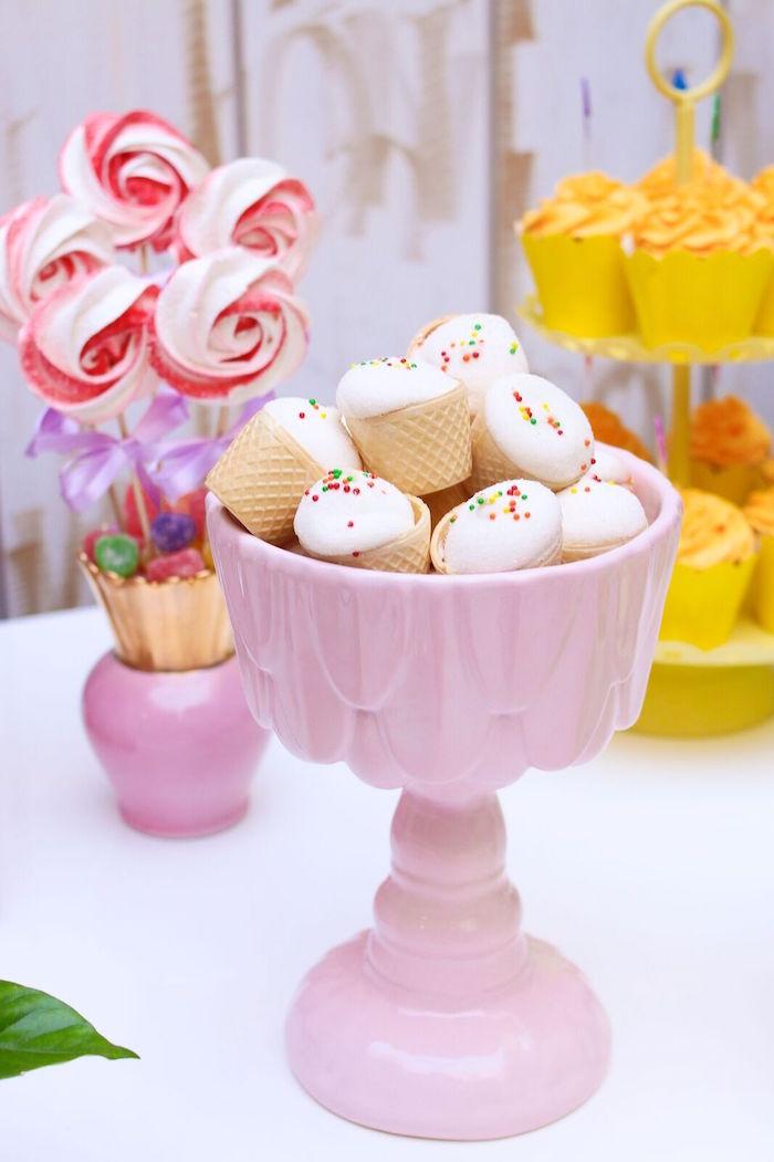 Mini cupcakes from a Pretty Pastel Rainbow Party on Kara's Party Ideas | KarasPartyIdeas.com (24)