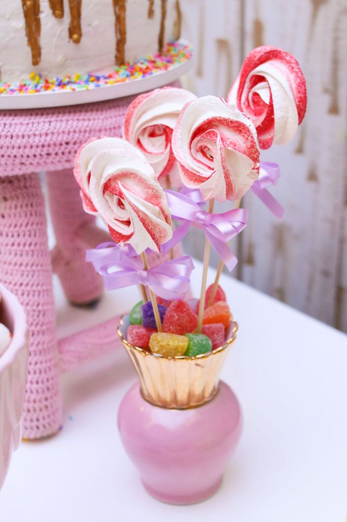 Meringue cookie pops from a Pretty Pastel Rainbow Party on Kara's Party Ideas | KarasPartyIdeas.com (23)